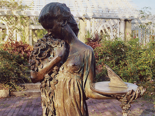 315471826_15fe2492c5 Bronze Sculpture of a Girl Holding a Sundial in the Rose Garden of the Brooklyn Botanic Garden_ Nov. 2006_M.jpg
