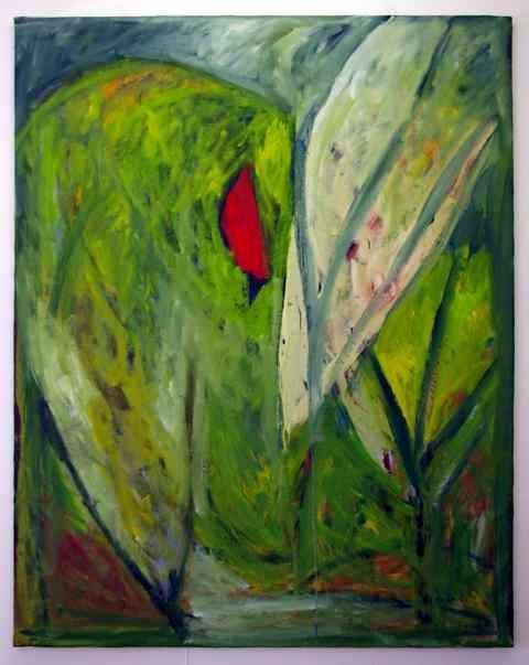 La verte et rouge 2002 - Huile et pigments sur toile.JPG