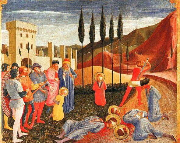 Martyre des saints Côme & Damien, par Fra Angelico vers 1438-1443.