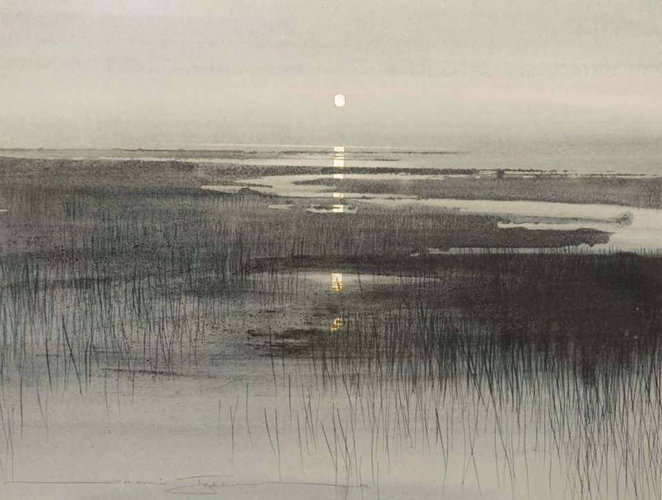 Naomi Tydeman, Grey and Silver Marsh. Watercolour and gold leaf